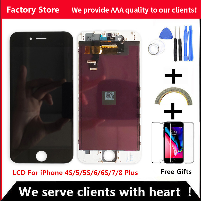 AAA LCD Display For iPhone 6 7 8 6S Plus LCD Screen Assembly For iPhone 5 5C 5S SE No Dead Pixel+Tempered Glass+Tools+TPU Case(China)