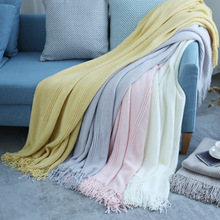Knitted Throw Blanket Bed Sofa Plaid Travel TV Nap Blankets Soft Towel Bed Plaid Tapestry knitting warmth flower plaid hollowed square sofa blanket