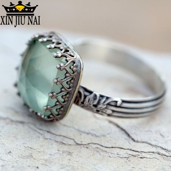 Simple Mint Green Square Zircon Moonstone Ring For Women Ladies Fashion Retro Thai Silver Female Rings Jewelry Anillos Size 6-10