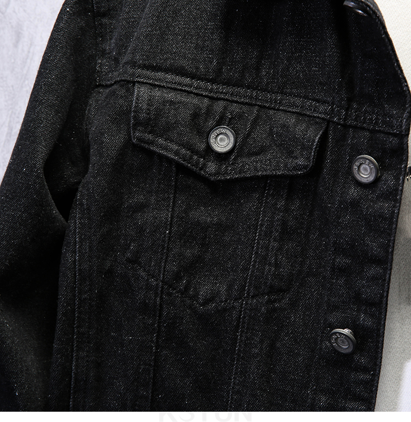 KSTUN Famous Brand Jean Jackets for Men Denim Jacket Solid Black Casual Embroidered Letters Fashion Desinger Man Classic Outwear Coats 14