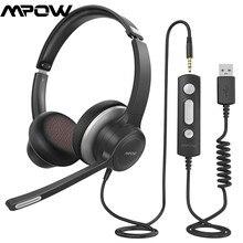 Mpow USB/3,5mm Oficina auriculares con micrófono confort-fit 4,8 onzas PC ruido cancelación de 2,4 m de cable USB de carga de auriculares de computadora