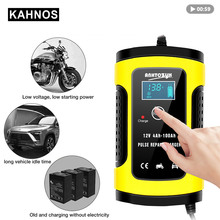 12V 6A caricabatteria automatico per auto alimentatore riparazione impulsi caricabatterie bagnato piombo acido caricabatterie display LCD digitale