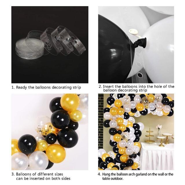 150Pcs Black Gold Balloon Garland Kit Black Gold White Gold Confetti Balloon Party Supplies Decoration Set