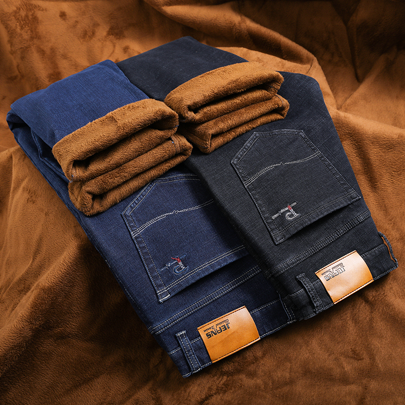 New Men's Winter Jeans Warm Slim Fit Denim Pants Male Balck Blue Thicken Trousers Jean Brand Big Size Men 38 40 42  44 46