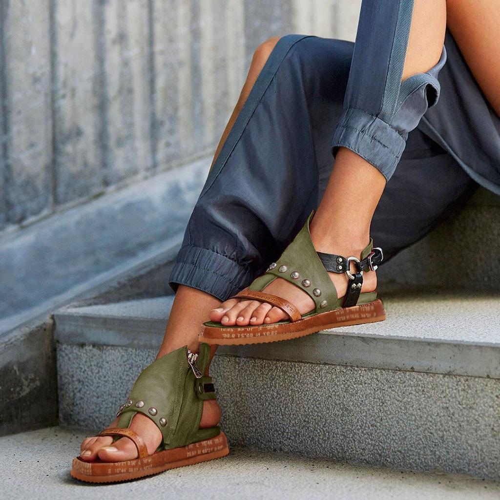 Women's Sandals High Quality High Heel Rome Flip Flops Wedges Sandals Artificial leather Platform Women's Sandals Large Size