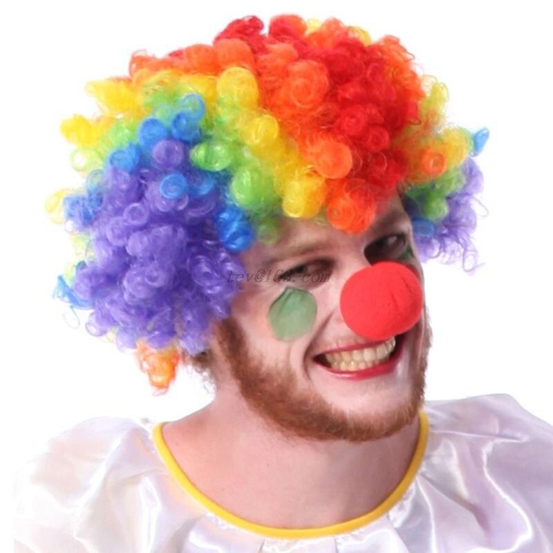 Парик клоуна для взрослых и детей, Радужный красочный, с кудрявыми волосами в стиле афро, из красной пены, для косплея, маскарада, Хэллоуина, ...