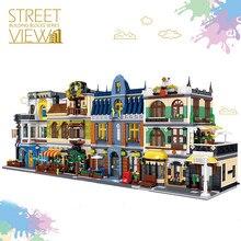 1367 pçs criador arquitetura blocos de construção cidade rua vista tijolos definir verão cafeteria hill tavern brinquedo presentes para crianças