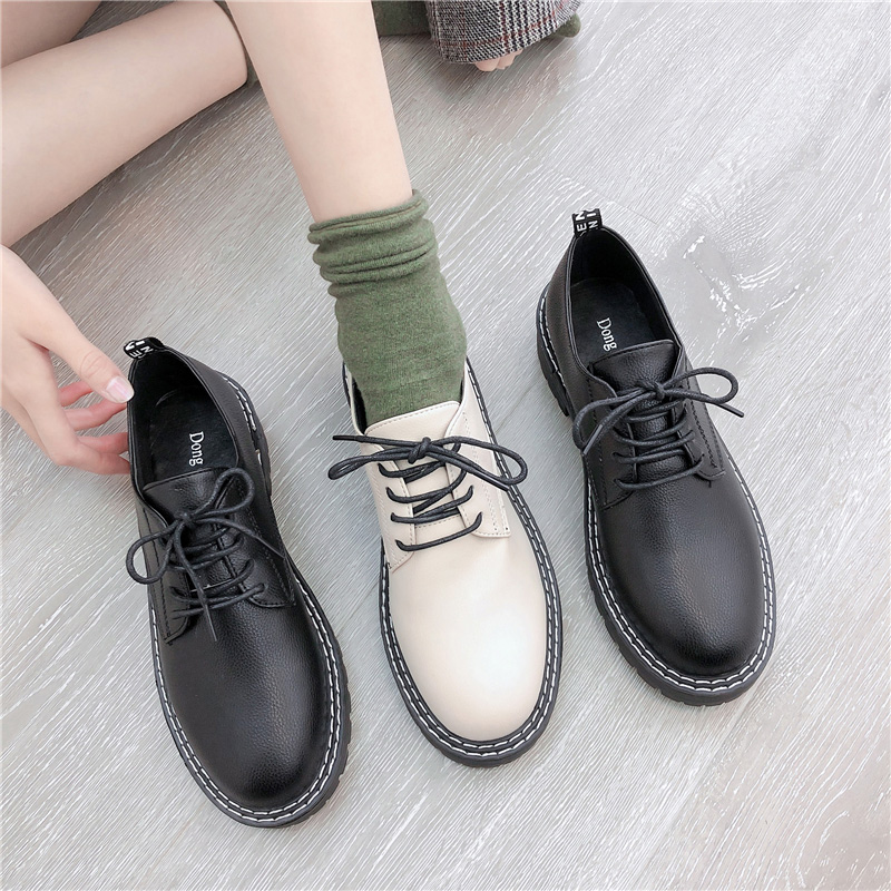Shoes Woman 2020 British Style Round Toe All-Match Oxfords Women's Autumn Black Flats Casual Female Sneakers Ladies' Footwear