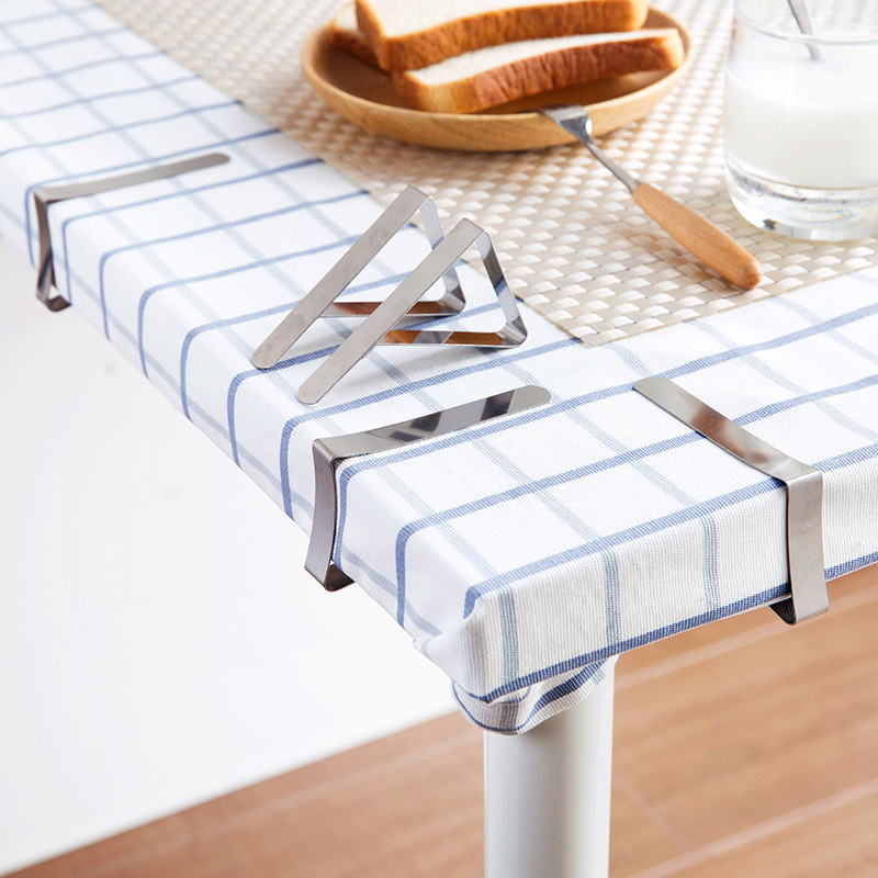 4pcs Stainless Steel Tablecloth Anti-slip Clip Outdoor Picnic Cloth Clamps Tablecloth Holder For Birthday Wedding Party Supplies
