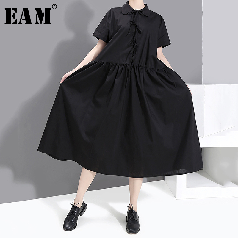 [EAM] Women Black Pleated Bandage Bow Big Size Dress New Lapel Short Sleeve Loose Fit Fashion Tide Spring Summer 2020 1S537
