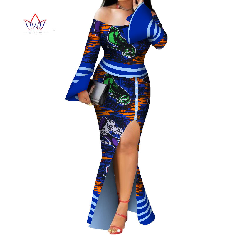 Long Sleeve Dresses For Women Party Wedding Casual Date Dashiki African Women Dresses Customize African Dresses For Women WY5595