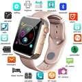 Sıcak HD dokunmatik renkli ekran akıllı saat kamera ile Bluetooth müzik desteği 2G sim kart kol saati Huawei xiaomi Samsung iPhone