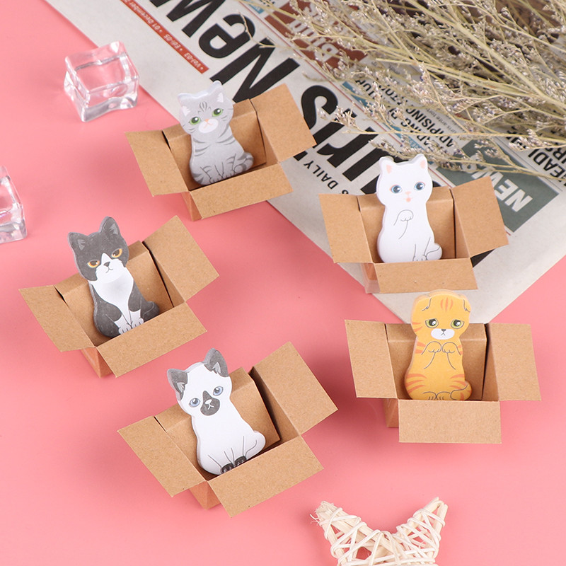Details about  /Cartoon Stationery Sticky Notes Office School Supplies 3D Cat Dog Box Stick yL