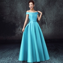 OFF shoulder satin bridesmaid dresses long new turquoise pur