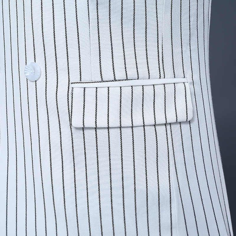 Merk Luxe Mens White Double Breasted Blazer Jas Streep Broek Tweedelig Pak Set Mannelijke Slim Fit Bruiloft Suits set S-2XL