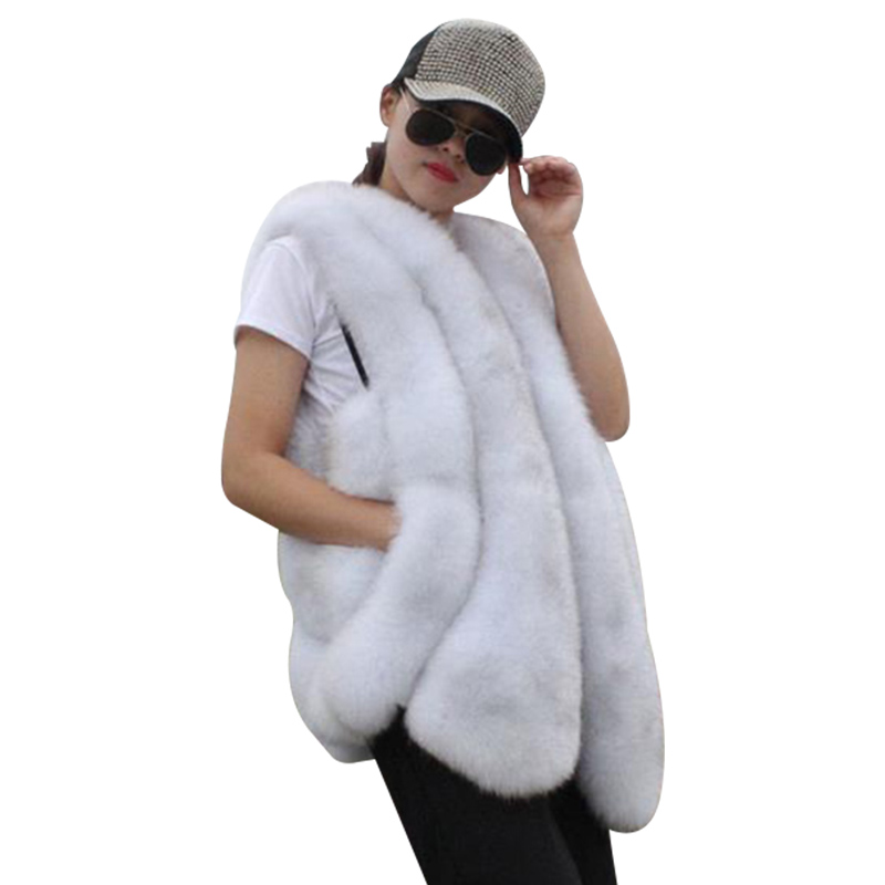 Autumn Winter New Fox Fur Vest For Women Elegant Solid Color Curved Seam Pocketed Casual Comfortable Warm Fox Fur Vest