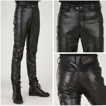 Plus Size Slim Male Leather Pants Male Trousers Tight Leathe