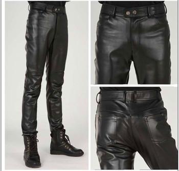 Plus rozmiar szczupły mężczyzna spodnie skórzane męskie spodnie obcisłe spodnie skórzane spodnie skórzane męskie spodnie motocyklowe Pantalon Homme spodnie męskie spodnie 2020 tanie i dobre opinie Ao Mi Ke Rong Proste CN (pochodzenie) Mieszkanie Faux leather NONE skinny 28 - 37 Pełnej długości Moto Biker Midweight
