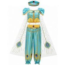 Girls Jasmine Princess Clothes Children Cosplay Aladdins Lamp Fancy Costume Kids Birthday Halloween Carnival Party Costuming