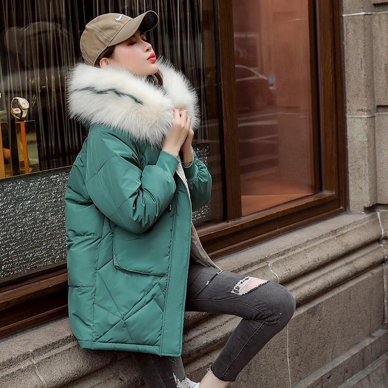 Medium Long Down Parkas Womens Winter Jackets Casual Fur Collar Hooded Jacket Warm Thick Coat Plus Size Big Pocket Women's Coat
