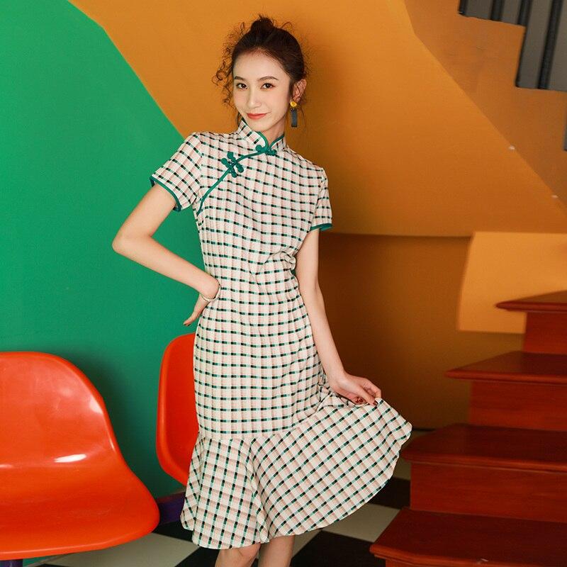 2020 Chinese Dress Women Wedding Qipao Dress Vintage Mandarin Collar Cotton Improved Cheongsam Short Sleeve Evening Dress