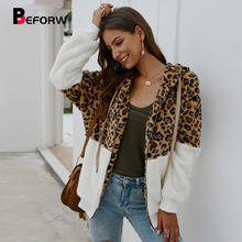 BEFORW 2019 moda leopardo PANA chaqueta abrigo mujer Vintage cremallera con capucha manga larga invierno grueso chaquetas Streetwear abrigos