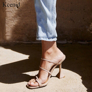 Image 1 - Kcenid Vintage square toe slippers women strange high heels sandals concise narrow band ladies shoes flip flops party shoes new
