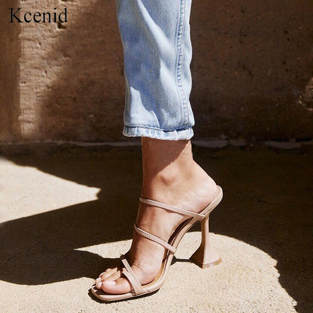 Kcenid Vintage square toe slippers women strange high heels sandals concise narrow band ladies shoes flip flops party shoes new