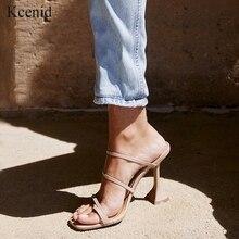 Kcenid do vintage praça toe chinelos feminino estranho salto alto sandálias concisa banda estreita senhoras sapatos flip flops sapatos de festa novo