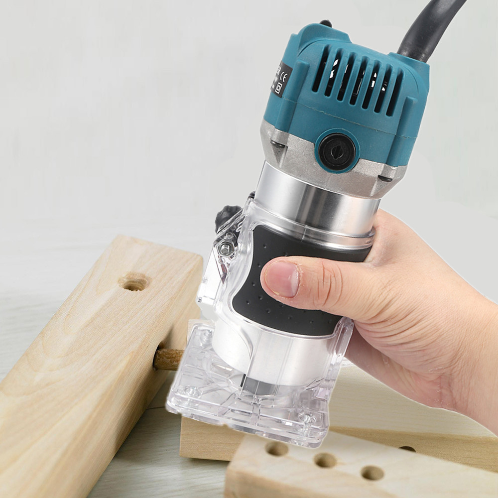 800W Woodworking Electric Trimmer Wood Milling Engraving Slotting Trimming Machine Hand Carving Machine Wood Router  1/4