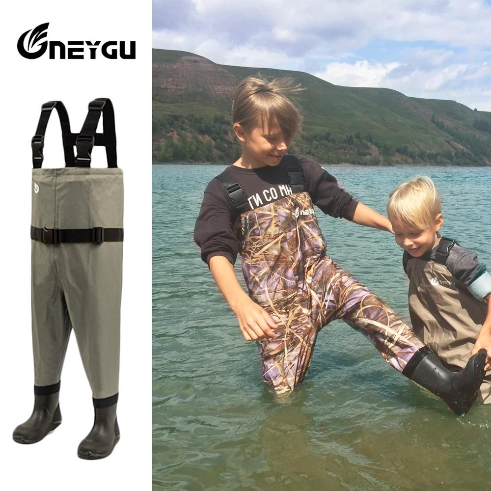 NeyGu Kids Breathable Wading Pants, Child Fishing Chest Waders With Anti-Slip Sole Boots, Toddler Waterproof Overalls For Muddy