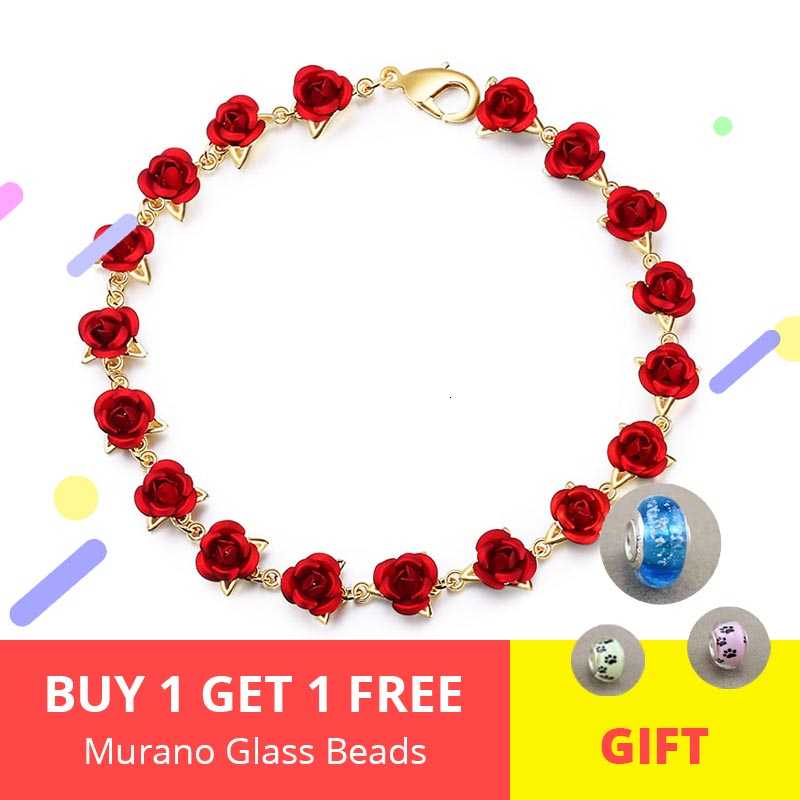 New 18-20CM Rose Gold Color link Chain Romantic Bracelet with Red Enamel Jewelry Valentine Gift For Lover Free Shipping