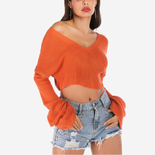 New Autumn Winter Sexy Midriff-baring Sweaters loose Solid Knitted Pullovers Casual Deep V-neck Sweater Knitwear sexy midriff baring tops