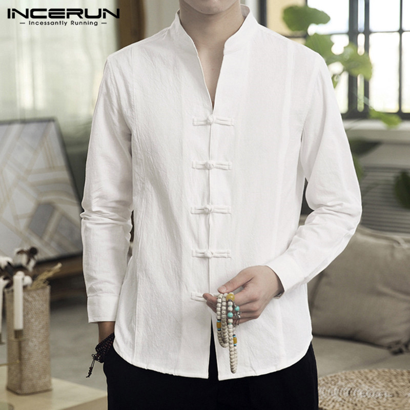 INCERUN Men Casual Shirt Solid Retro Button Stand Collar Tops Cotton Linen Long Sleeve Streetwear Chinese Traditional Shirts Men
