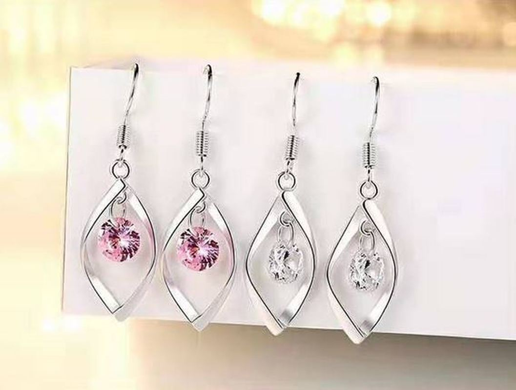 S925 Silver Soft Water-Fashion Zircon Pearl Earrings Women Long Pendant Accessories Jewelry Twisting Drop-shaped Decorations