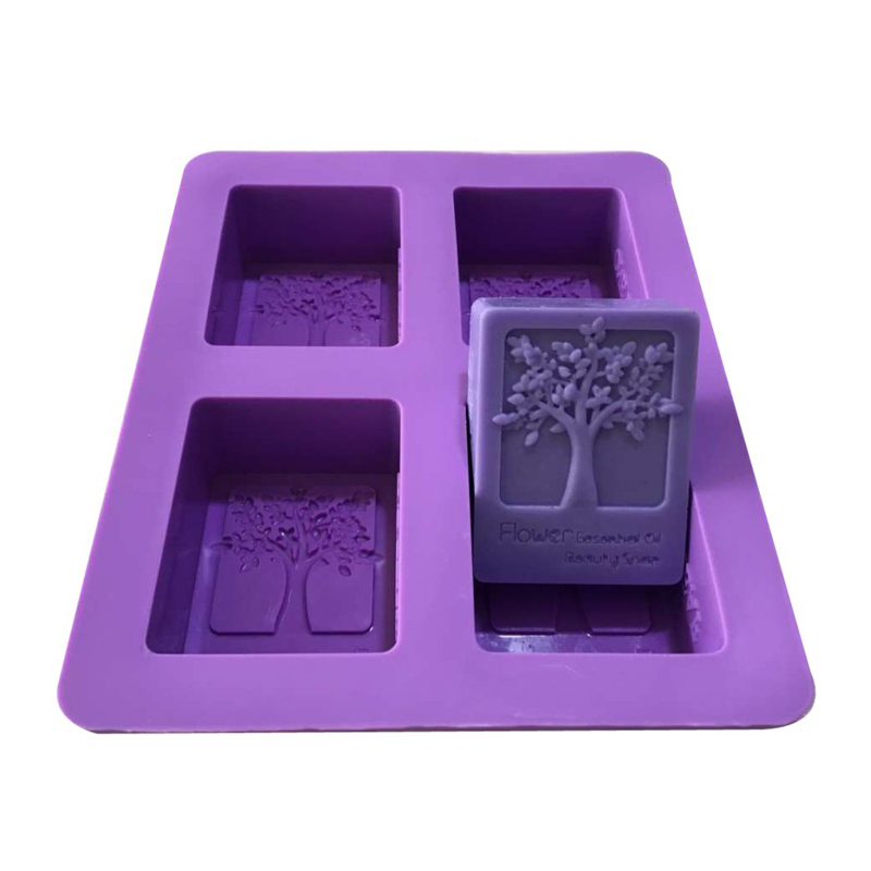 1/4 Cavity Purple Rectangle Silicone Mold Tree Shaped Square Soap Mold Arts And Crafts Chocolate Cake Molding Soap Making Tools