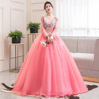 Quinceanera Dresses 2020 The Luxury Long Sleeve Secy V neck Ball Gown Party Prom Dress Pink Quinceanera Dress Robe De Bal
