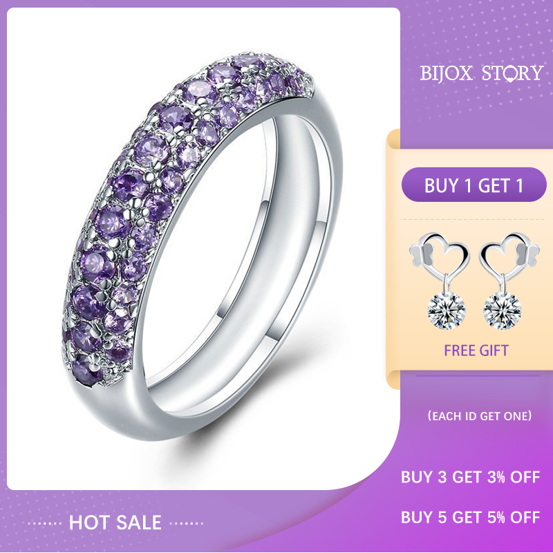 BIJOX STORY New 925 Silver Jewelry Ring with Amethyest Citrine Zircon Gemstones Fashion Rings for Women Wedding Party Wholesale