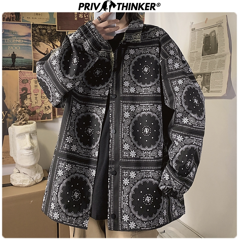 Privathinker Black Printed Shirt Jackets For Men 2020 Japanese Streetwear Man Casual Coats Spring Long Sleeve Male Jackets 5XL