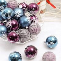 Mixed 24PCS 6cm Christmas Balls Blue Purple Light bulb Shape Merry Christmas Tree Hanging Decorations Xmas DIY Decor
