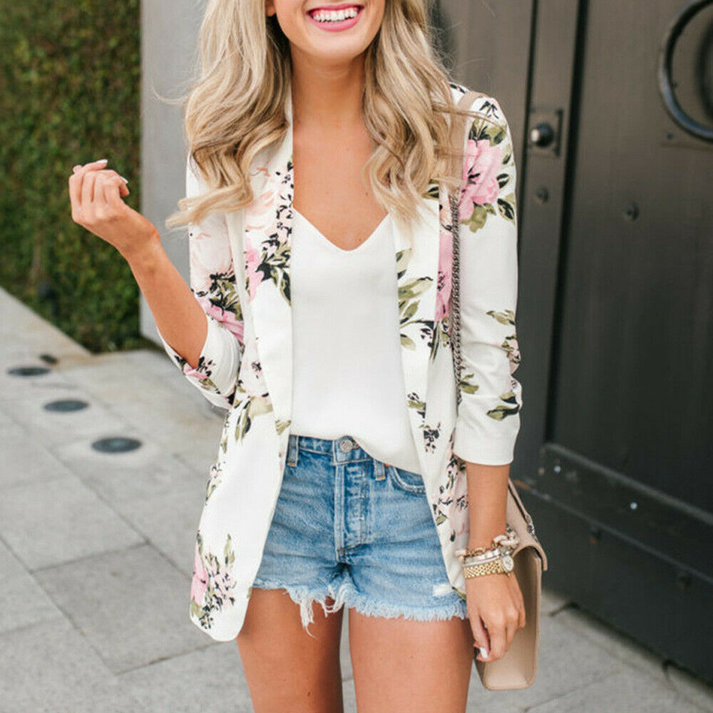 Fashion Women Long SLeeve Slim Floral Blazer Elegant Party Club Formal OL Vintage Veste Femme Business Top Ladies Streetwear