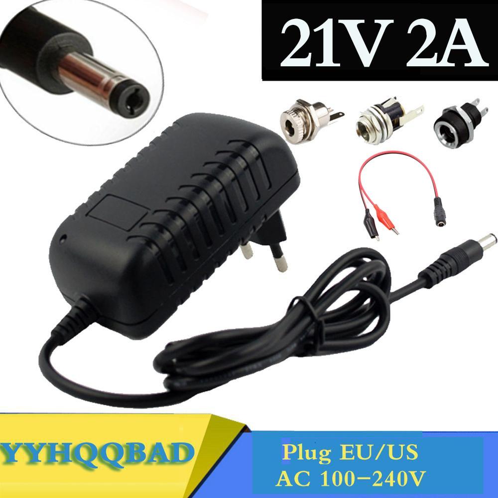 Зарядное устройство для литиевых батарей 21 в, 2 А, 18650, 18 в, зарядное устройство для литиевых батарей, 5,5 мм x 2,1 мм, разъем питания постоянного т...