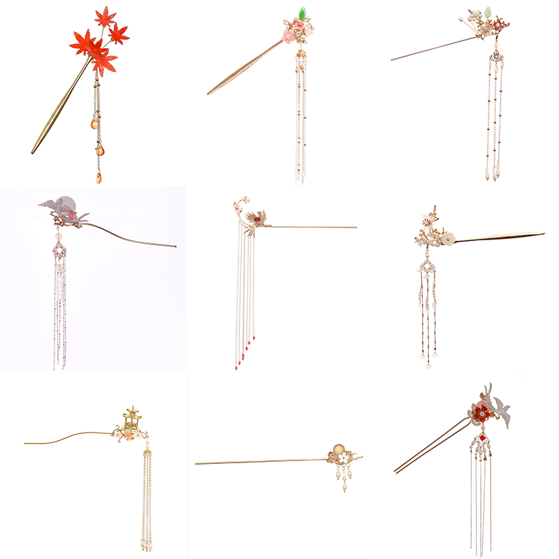 Newest Flower Hair Forks Retro Style Long Tassel Hairpins Clip Maple Leaf Hair Stick Pearl Bead Step Shake Chinese Wedding Bride Hair Jewelry  - AliExpress