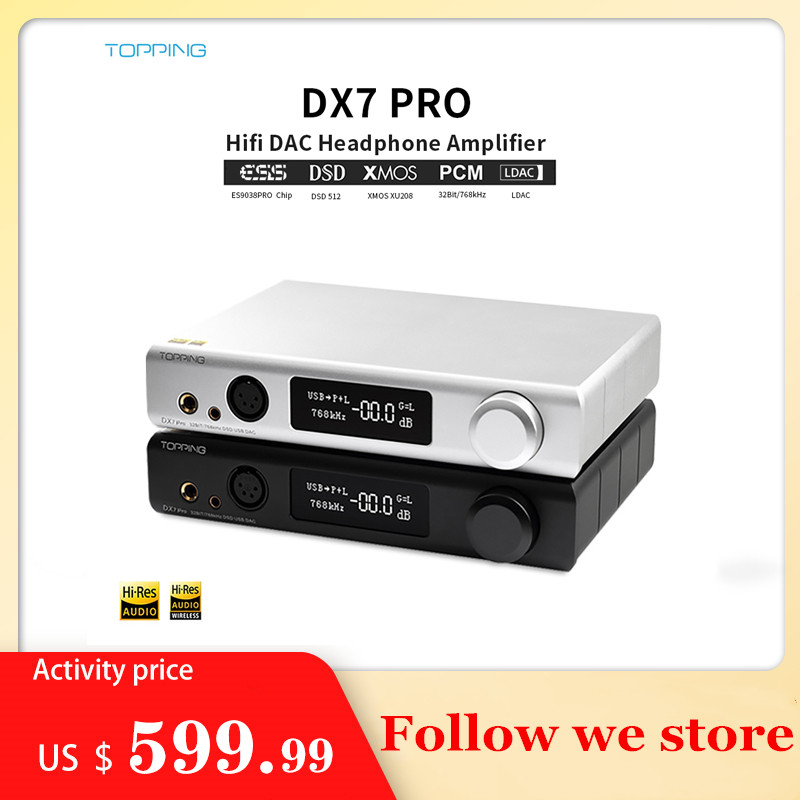 Topping DX7 Pro ES9038Pro Hifi DAC Headphone Amplifier Bluetooth 5.0 32BIT/768kHz DSD1024 Balanced Headphone Amplifier Wireless image