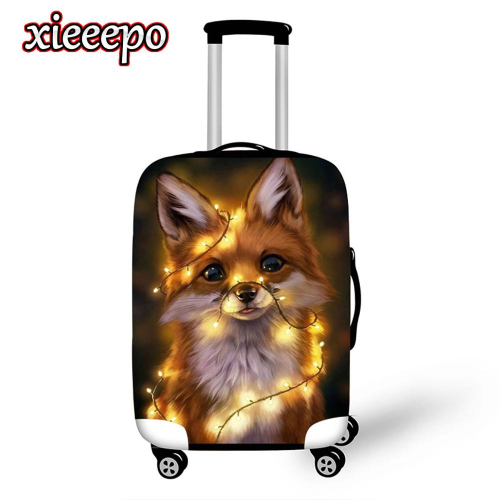 Cute 3D Animal Luggage Cover Protective Case Thicken Waterproof Elastic Blue Suitcase Cover For 18-32 Inch XL Travel Accessorie