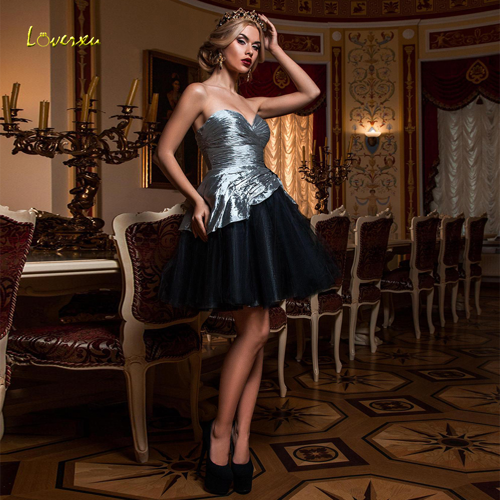 Loverxu Sexy Sweetheart Ball Gown Short Cocktail Dresses Elegant Sleeveless Backless Button Mini Banquet Party Gowns Plus Size