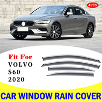 FOR Volvo S60 2020 window visor car rain shield deflectors awning trim cover exterior car styling accessories parts