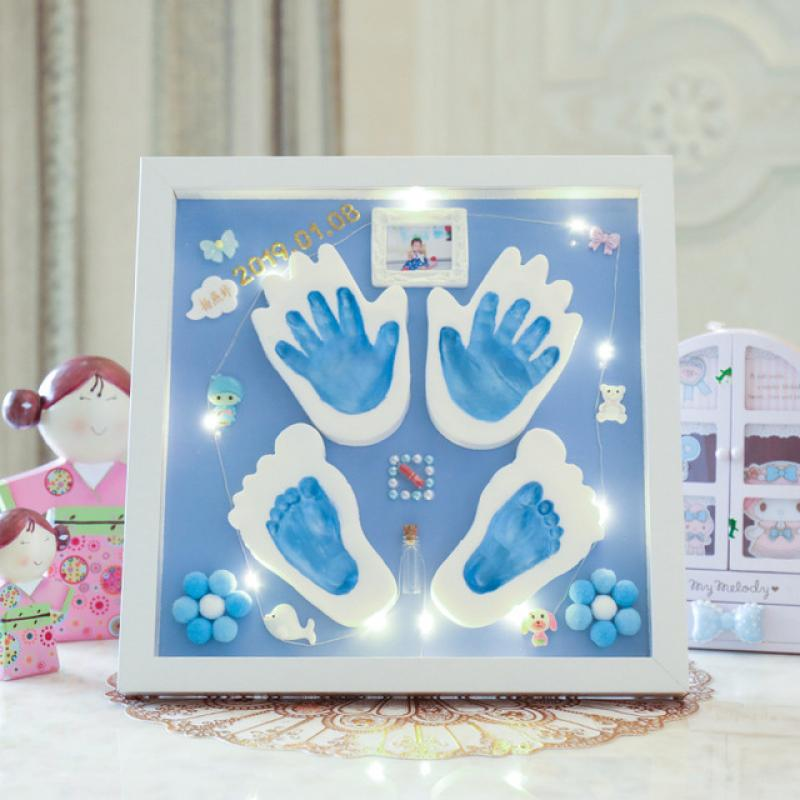 Newborn Baby DIY Handprint Footprint Kit Casting Infant Baby Hundred Days Souvenirs Gift Imprint Soft Clay Inkpad For Baby