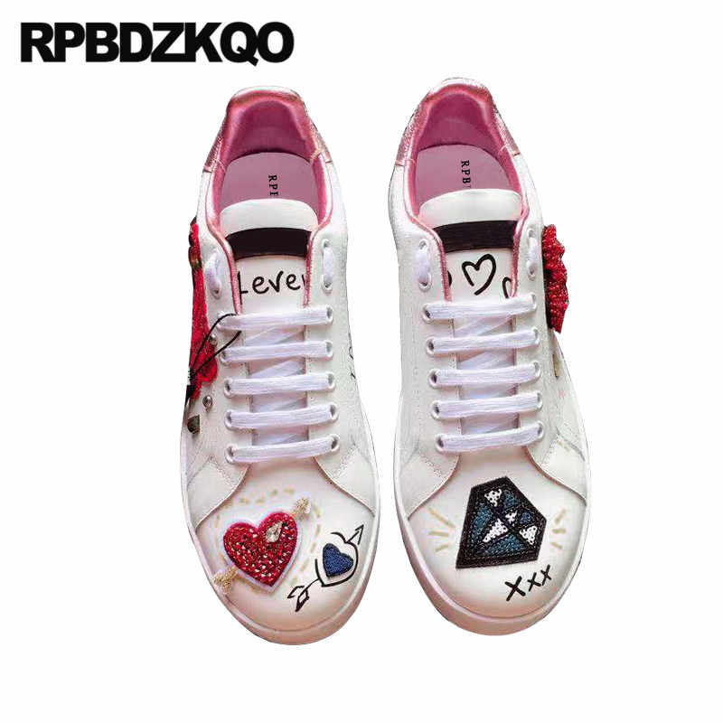 graffiti sneakers women rhinestone diamond genuine leather brand stud trainers rivet white ladies beautiful flats shoes crystal