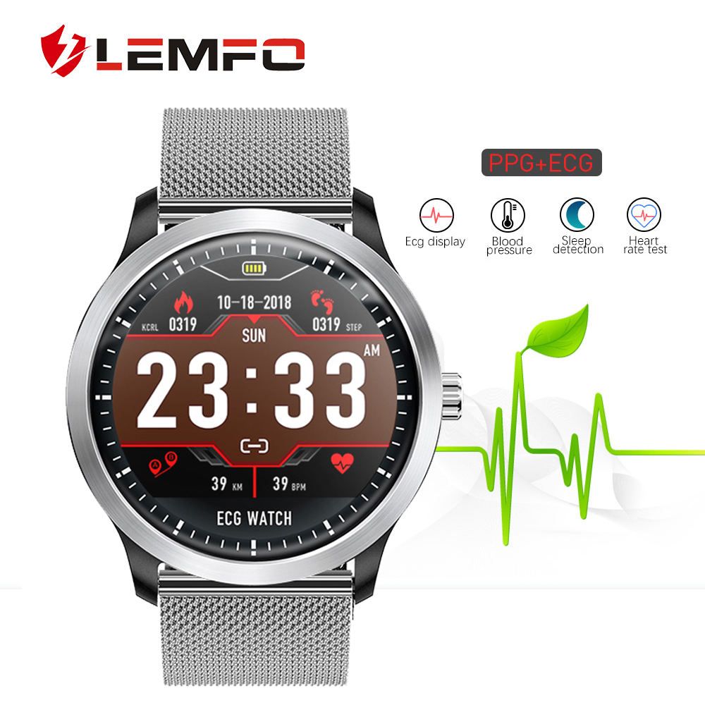 LEMFO ECG PPG Smart Watch Heart Rate Blood Pressure Monitor Electrocardiograph ECG Display Waterproof N58 Smartwatch Men Women